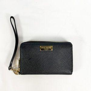HENRI BENDEL Saffiano Black Zip Around Wallet